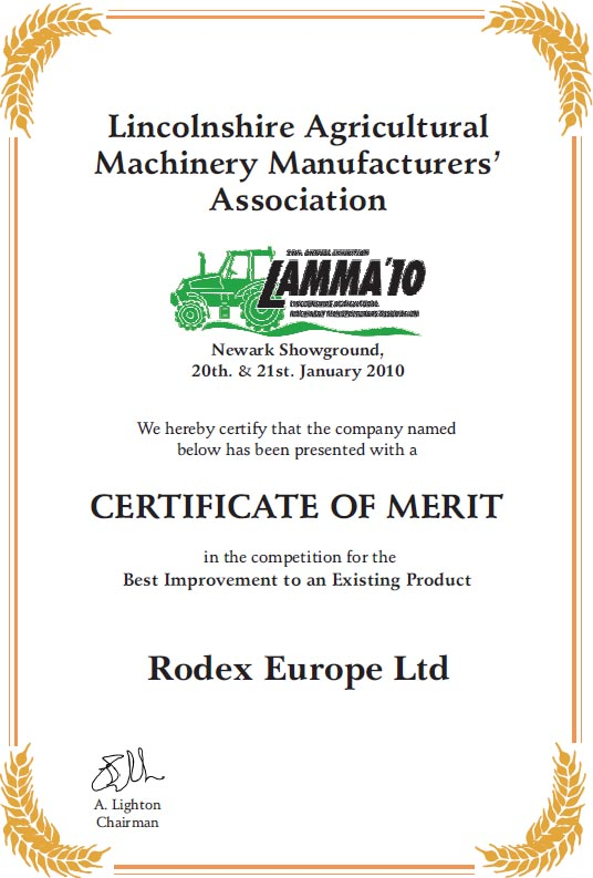 Lamma Award Certificate